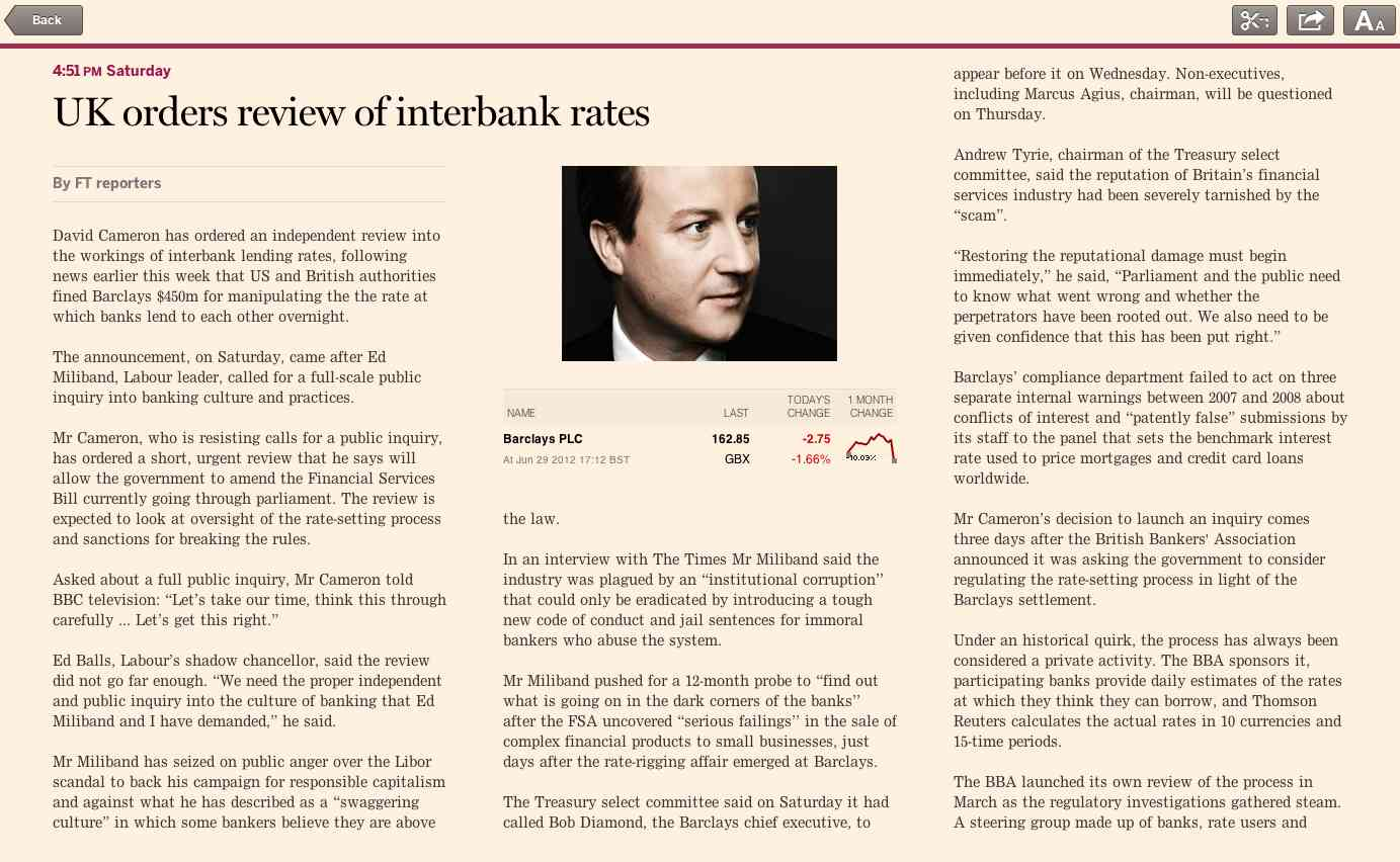 Column layout in the FT web app