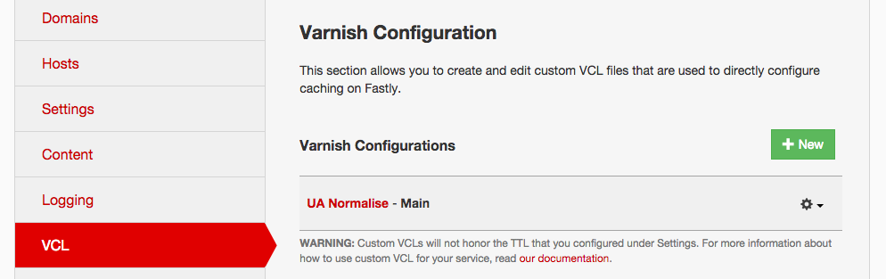 Fastly VCL upload UI