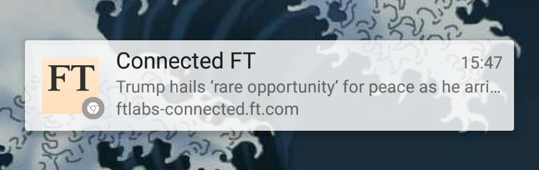 A screenshot of the Connected FT push notification