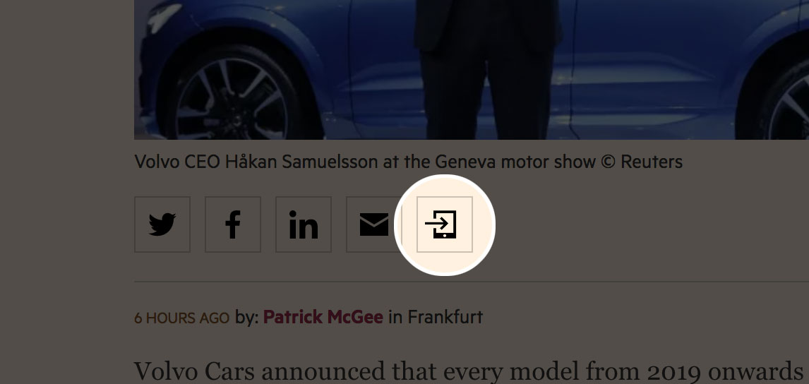 A screenshot of the newly displayed 'share to device' button on an FT.com article