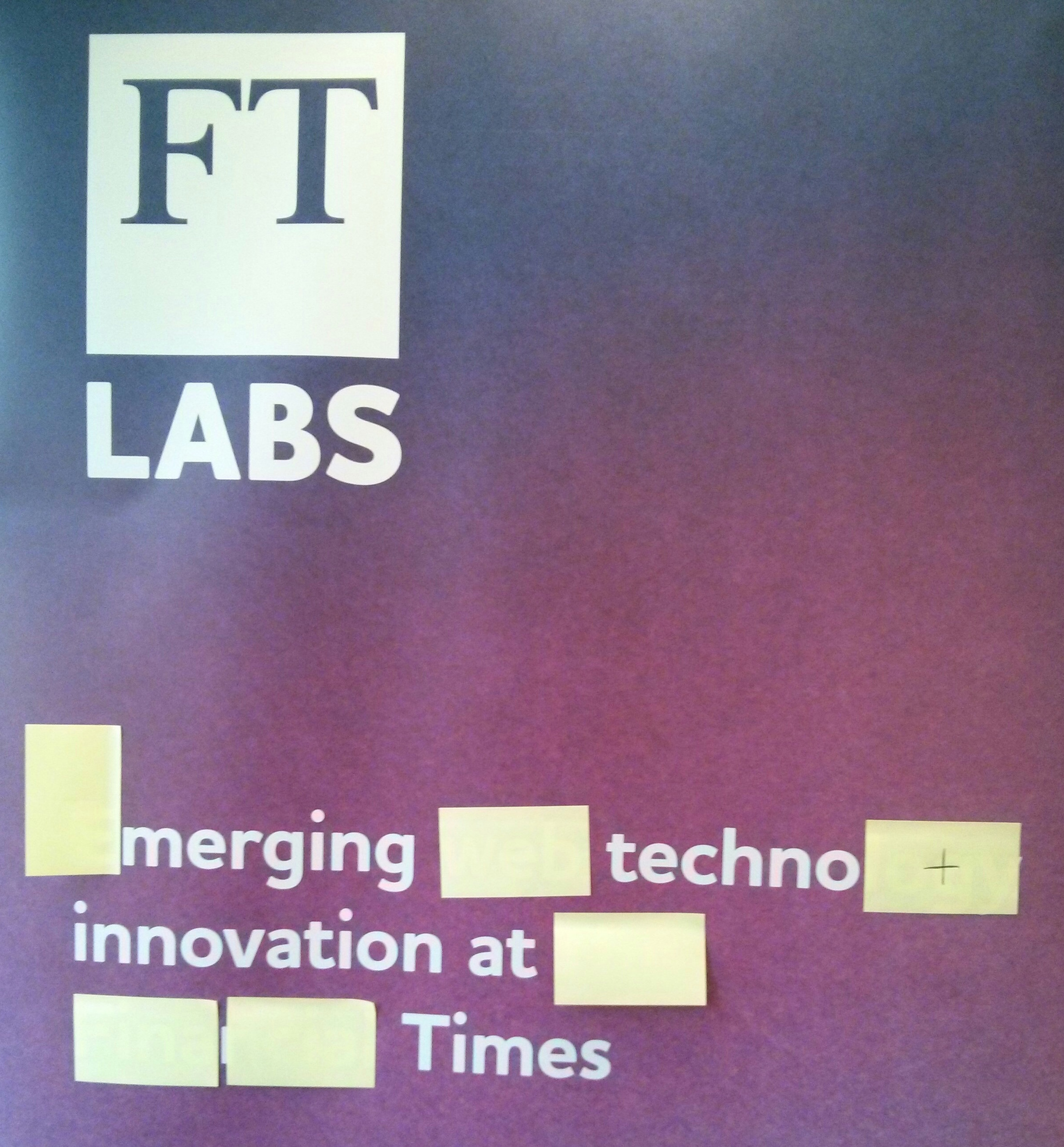 Trade show poster: FT Labs, Emerging web technology innovation at the Financial Times.